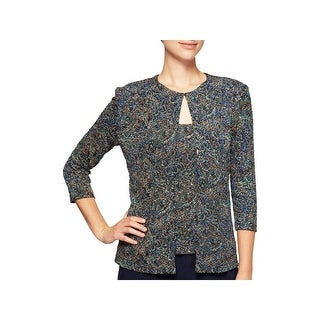 Alex Evenings Womens Petites Twinset Jacquard Print Evening