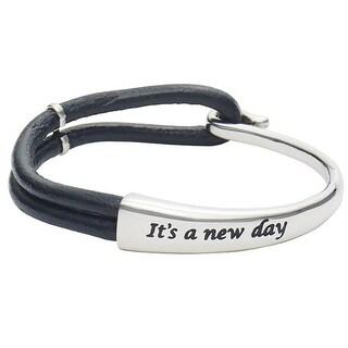 Women's It's A New Day Black Leather Wrap Bracelet