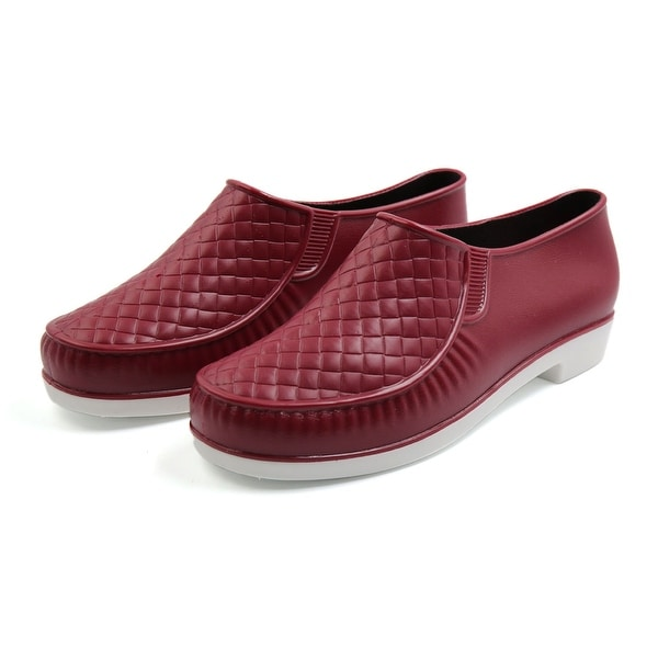 Burgundy US 7 Rubber Rhombus Pattern Nonslip Rain Boots Wellies Ankle Shoes