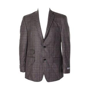 Michael Kors Mens Brown Plaid Classic-Fit Two Lapel Double Button Blazer 40R