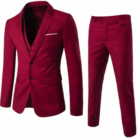 WEEN CHARM Men's Two Button Notch Lapel Slim Fit, Wine Red, Size XX-Large