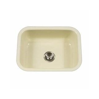 "Houzer PCS-2500 Porcela 22-3/4"" Single Basin Undermount Porcelain Enameled Kitchen Sink with Sound Dampening Technology - n/a"