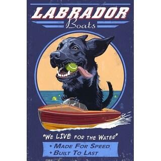 Black Labrador - Retro Boats Ad - LP Artwork (100% Cotton Tote Bag - Reusable)