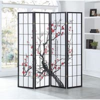Costway 4 Panel Plum Blossom Room Divider Folding Privacy Divider Shoji Screen