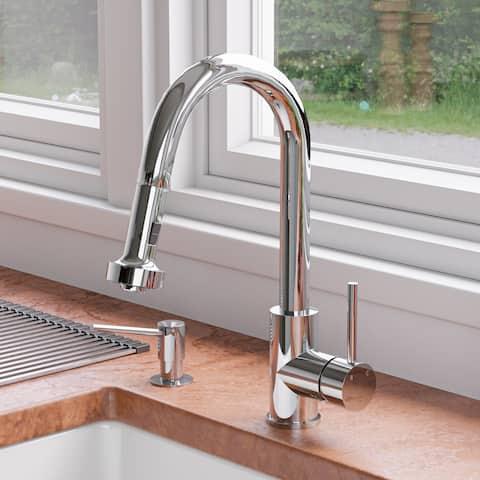 Polished Chrome Sensor Gooseneck Pull Down Kitchen Faucet