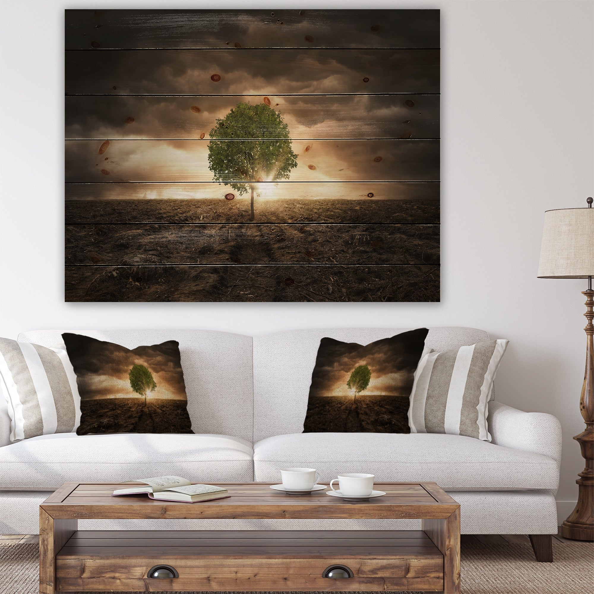 Designart Lonely Tree Under Dramatic Sky Wall Art Landscape Print On Natural Pine Wood Multi Color Overstock 23107418