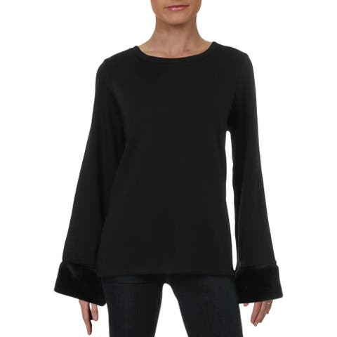 Jeanne Pierre Womens Pullover Sweater Faux Fur Lined V - Black - L