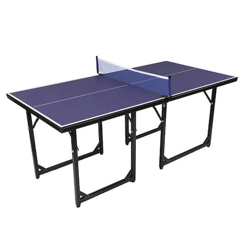 Table Tennis Table for Small Spaces, Portable Table with Ping Pong Net - N/A
