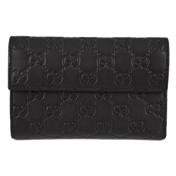 Gucci 346057 Black Leather GG Guccissima French Wallet W/Coin Pocket
