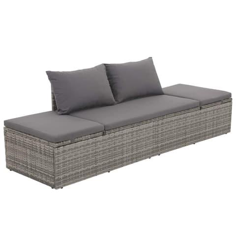 "vidaXL Garden Bed Gray 76.8""x23.6"" Poly Rattan"