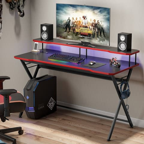 55in Large Gaming Desk for 2 Monitors, PC Gaming Table Gamer Computer Desk