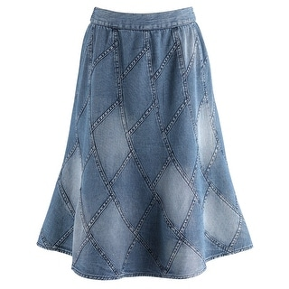 "Women's Mid-Calf Skirt - Denim Patchwork Blue Jean Inspired - 34"" Long"