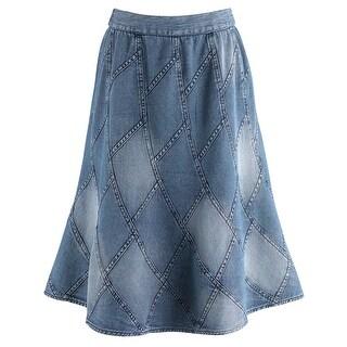 "Women's Mid-Calf Skirt - Denim Patchwork Blue Jean Inspired - 34"" Long"