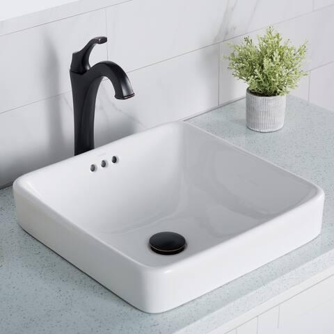 Kraus Elavo 16 1/4 in Square Ceramic Semi-Recessed Bathroom Sink