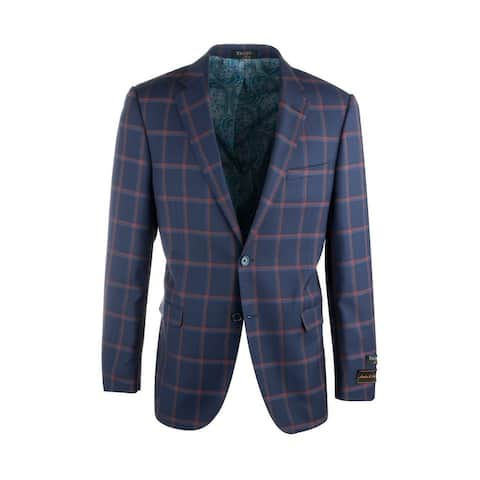 Sangria Navy Blue with Red Windowpane Pure Wool Jacket by Tiglio Luxe