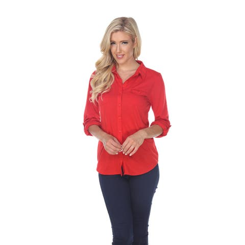 Skylar Stretchy Button-Down Top - Red
