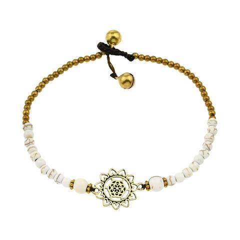 Handmade Gorgeous Heart Mandala Stone and Brass Bead Jingle Bell Anklet (Thailand)