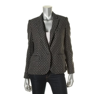 Anne Klein Womens Jacquard Pattern One-Button Blazer - 4