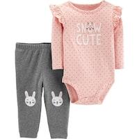 Carter's Baby Girls' 2-Piece Bunny Bodysuit Pant Set, Snow Cute