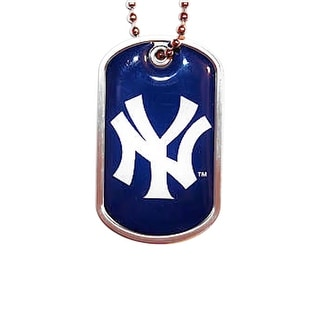 New York Yankees Dog Tag Domed Necklace Charm Chain MLB
