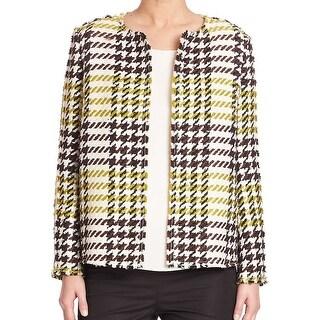Lafayette 148 NEW Green PLaid Women's Size 6 Basic Jacket Wool