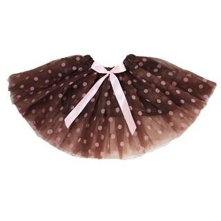 Little Girls Brown Pink Polka Dots Satin Elastic Waist Ballet Tutu Skirt 2-8Y