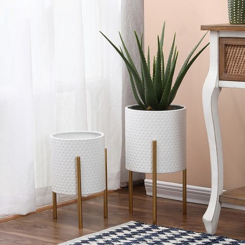 2-Piece White Round Metal Planters and Gold Stand