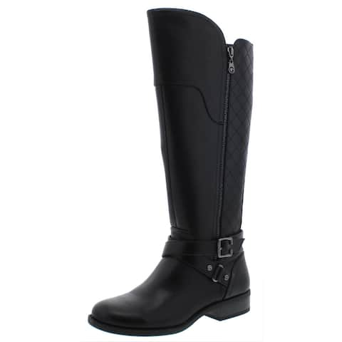 G by Guess Womens Haydin Riding Boots Faux Leather Knee-High - Black Multi