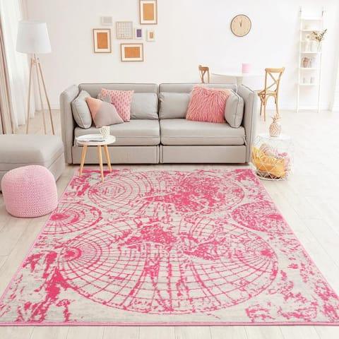 LoomBloom Persian Polypropylene Map Modern & Contemporary Oriental Area Rug Beige, Gray Color