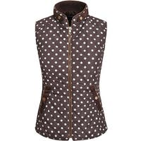 NE PEOPLE Womens Light Weight Polka Dot Low Turtle Neck Quilted Vest
