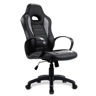 Costway PU Leather High Back Executive Race Car Style Bucket Seat Office Desk Chair (Gray)