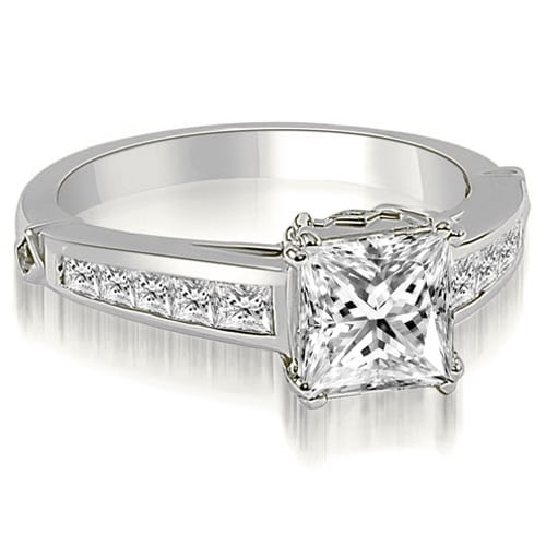 1.35 cttw. 14K White Gold Channel Princess Cut Diamond Engagement Ring