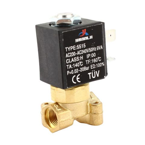 AC 230-240V G 1/8 Port 2 Way Water Air Gas Fuel Electric Solenoid Valve