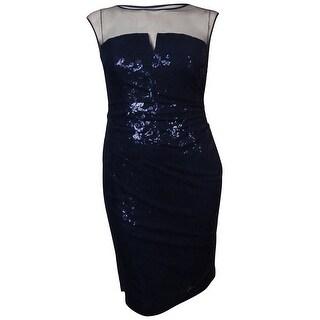 Lauren Ralph Lauren Women's Illusion Mesh Overlay Sequined Dress