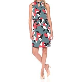 Nine West Green Womens Size 4 Printed Keyhole Blouson Sheath Dress