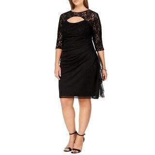 Betsy & Adam Plus Size Lace Cutout 3/4 Sleeve Cocktail Dress - 22W