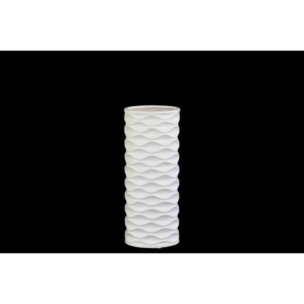 Cylindrical Ceramic Vase With Horizontally Embossed Wavy Pattern, Small, White