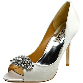 Badgley Mischka Lavender II Women Open-Toe Canvas White Heels