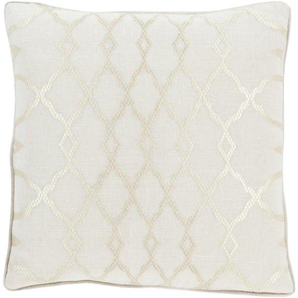 "20"" Diamond Elegance Alabaster and Champagne White Decorative Throw Pillow"