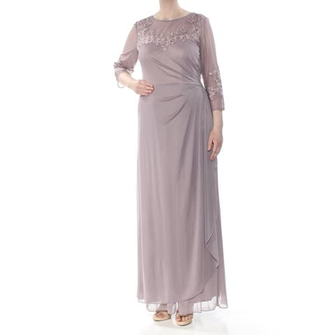 a9cae67a7a0 ALEX EVENINGS Womens Purple Embroidered Sequined 3 4 Sleeve Jewel Neck Maxi  Evening Dress Size