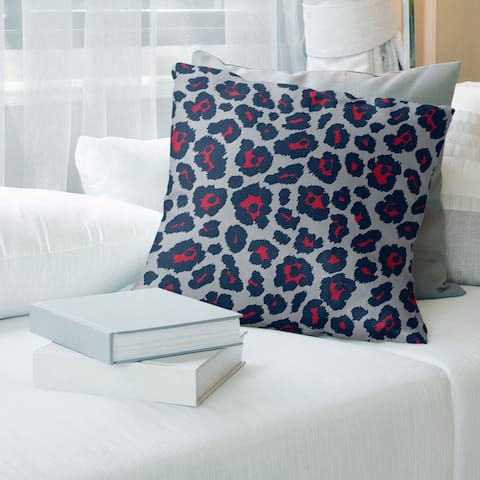New England Football Leopard Print Accent Pillow-Cotton Twill