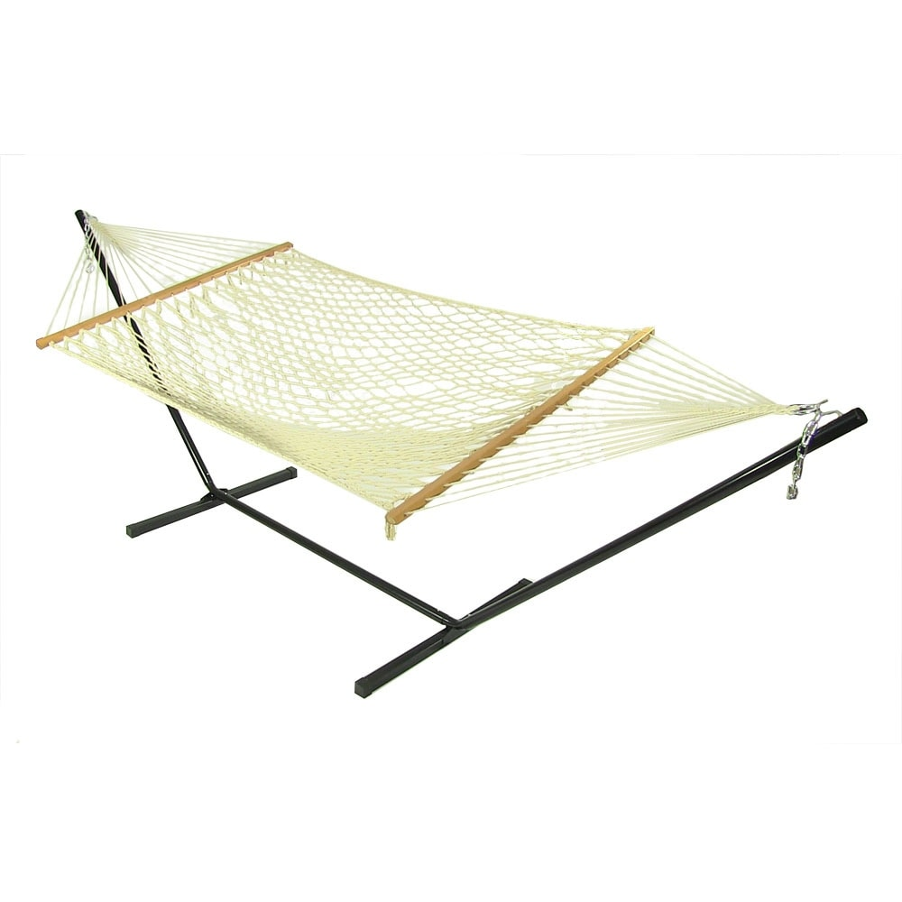 Sunnydaze Cotton 52 Inch Wide Rope Hammock with Wood Spreader Bars - White - Thumbnail 1