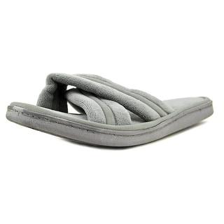 Dearfoams Terry Slide Men Open-Toe Synthetic Gray Slipper