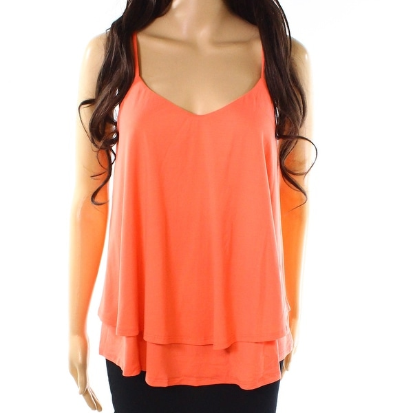 Susana Monaco Coral Pink Womens Size XL Solid Layered Tank Top
