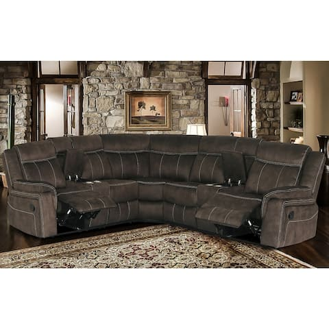 3 Piece Transitional Brown Upholstered Curved Living Room Reclining Sectional