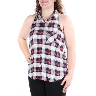Womens Navy Plaid Sleeveless Collared Casual Top Size XL