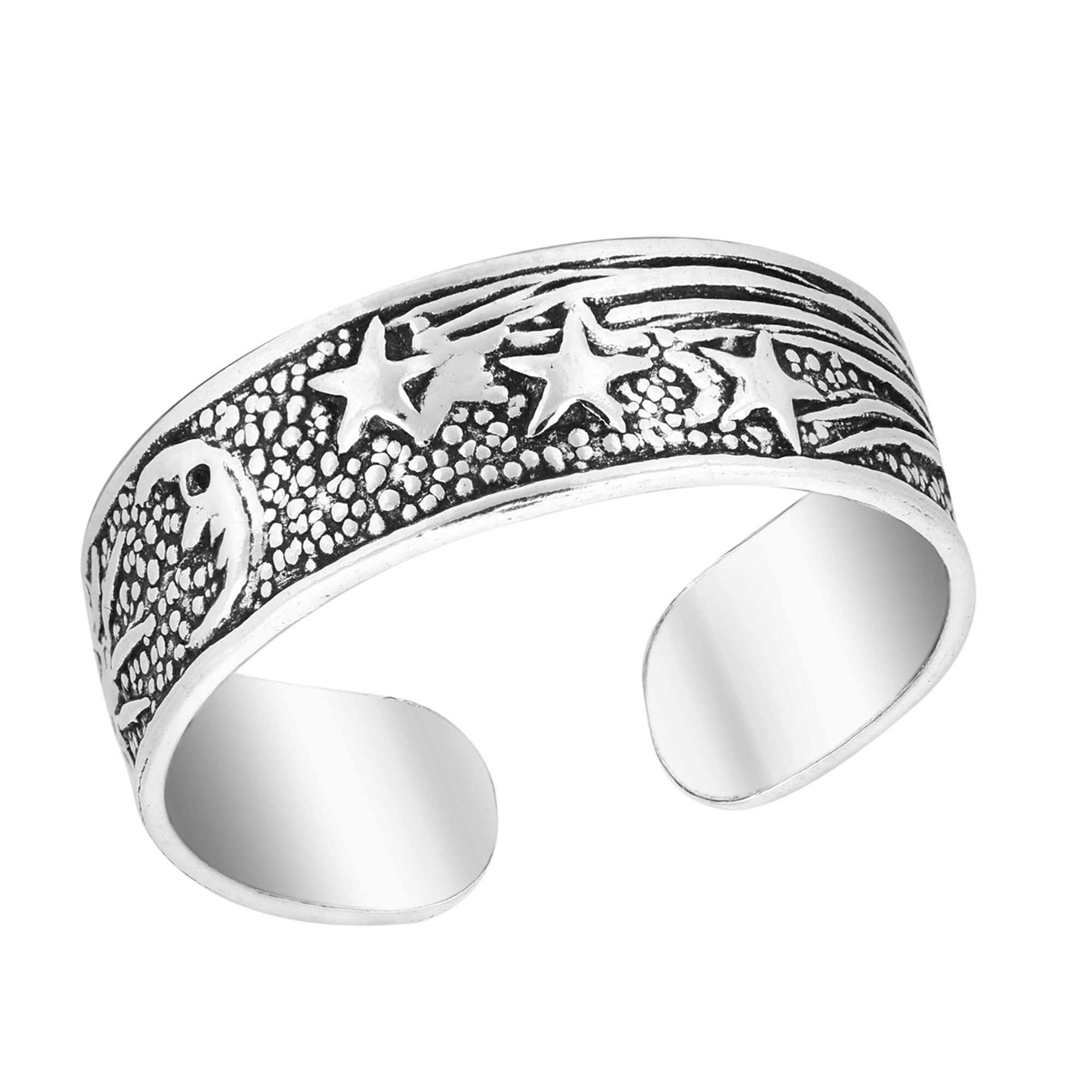 Star Moon Sun Adjustable Toe Ring Genuine Sterling Silver 925 Best Deal Jewelry