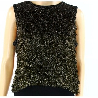 TopShop NEW Gold Black Womens Size 8 Fringe Tiered Metallic Tank Top