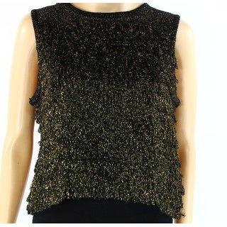 TopShop NEW Gold Metallic Fringed Women's Size 12 Sweater Tank Cami