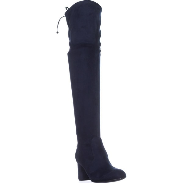Rebel by Zigi Olaa Over The Knee Stretch Back Boots, Midnight - 6.5 us